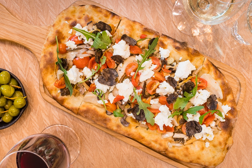 Flatbreads featuring local ingredients