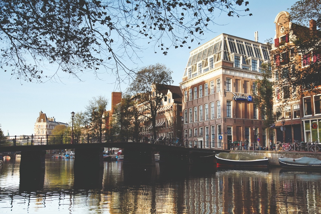 Hotel exterior and Amsterdam canal