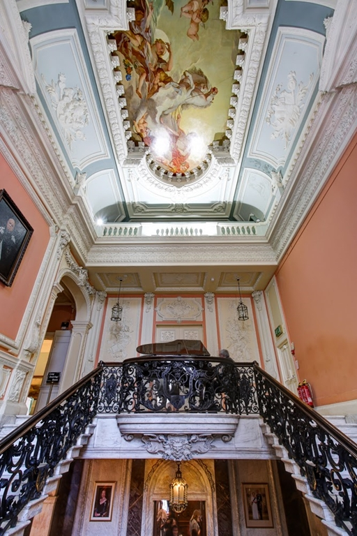 Dartmouth House marble staircase and hand painted ceiling