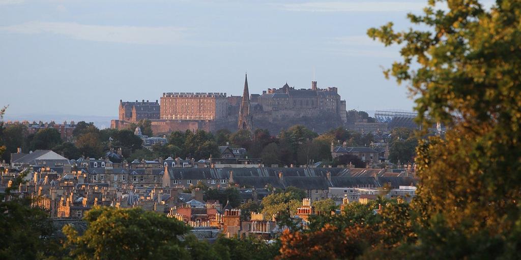 View of Edinburgh castle from Braid Hills exterior decking