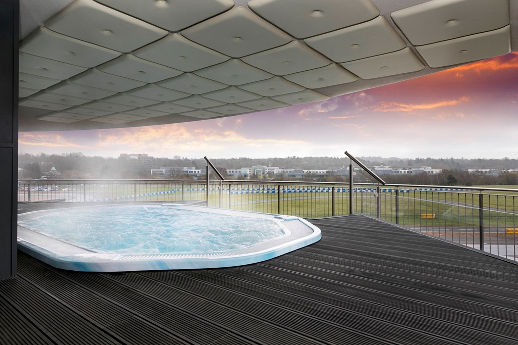 Hot tub overlooking Mercedes Benz World track