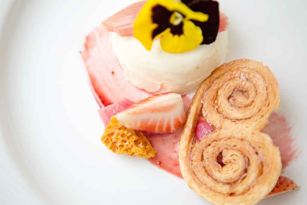 Rhubarb and ginger panna cotta cinnamon palmiers