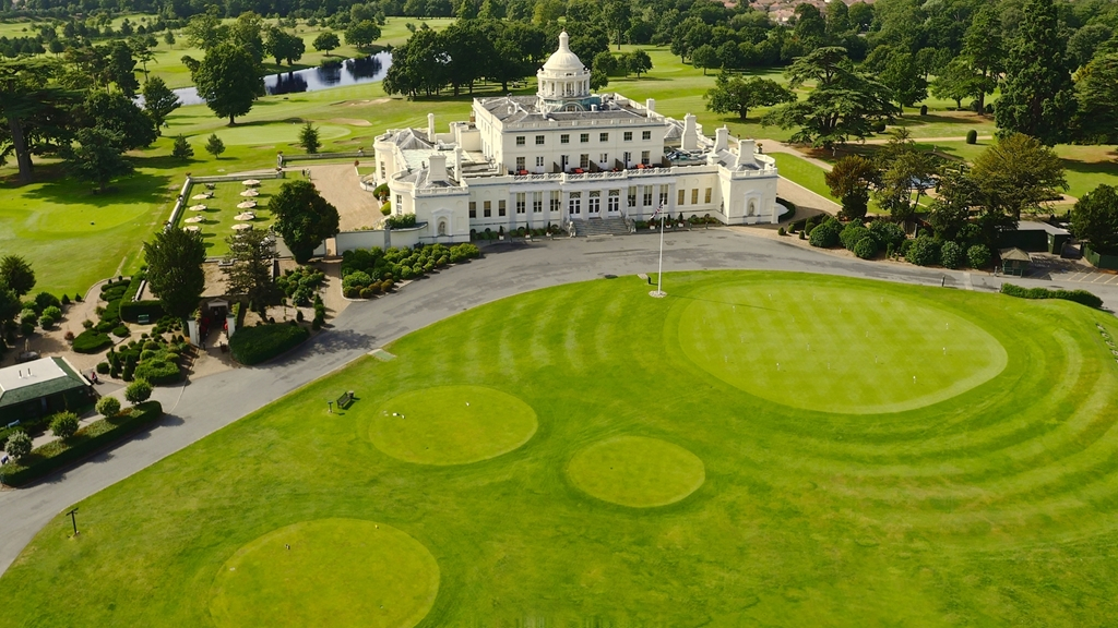 Stoke Park Mansion aerial view