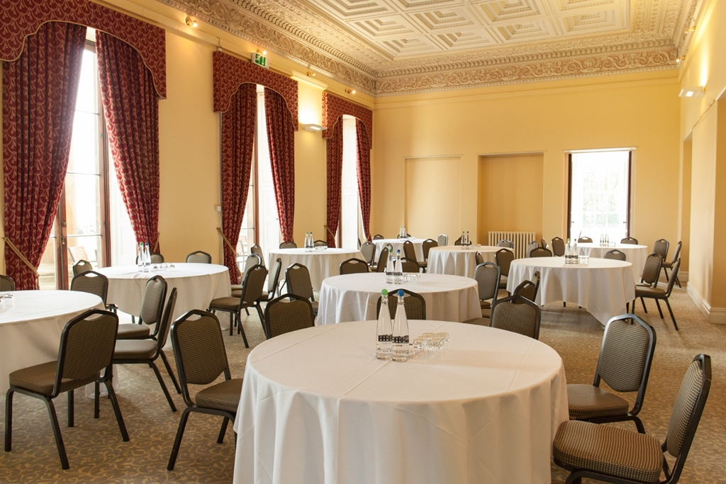 The Library at Leigh Court set up for a networking breakfast for 90 delegates.