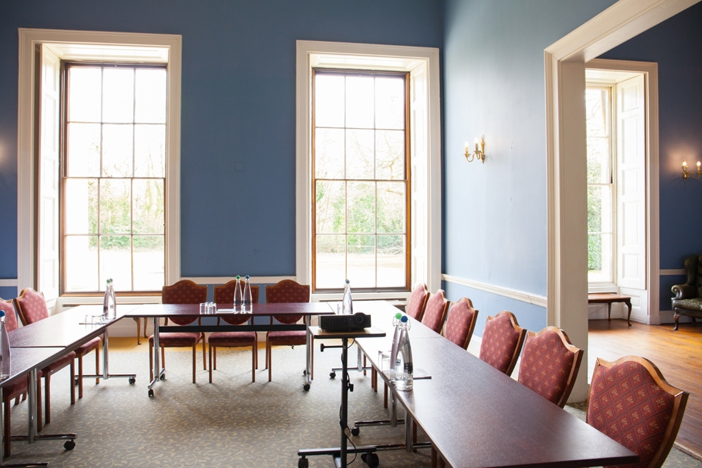 The lounge at Leigh Court set up for a morning meeting.