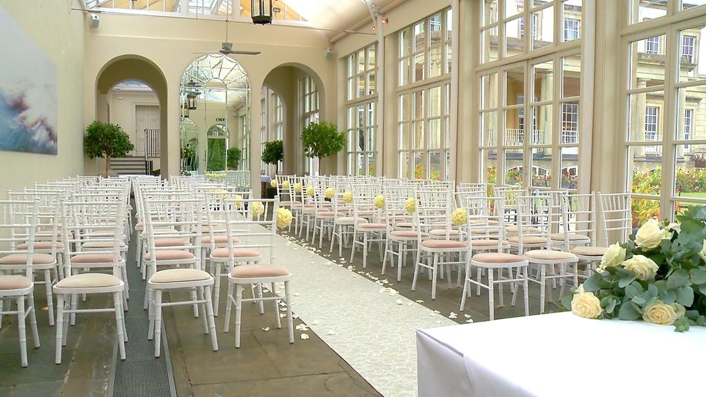 The Orangery.  Set for a wedding ceremony.