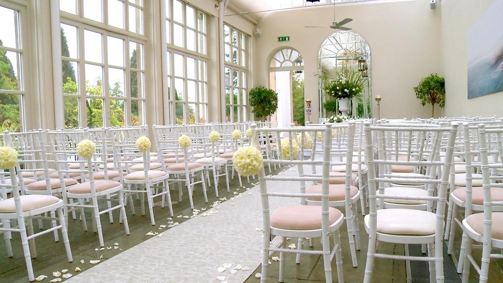Orangery.  Set for a wedding ceremony.