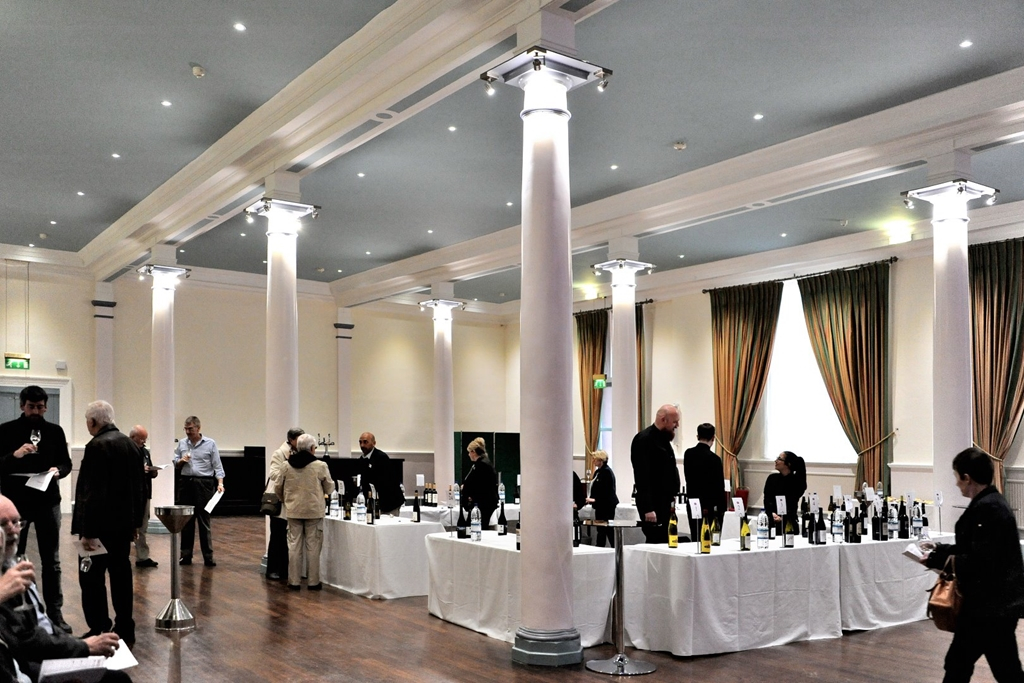 The Hadfield Hall set for a wine tasting event