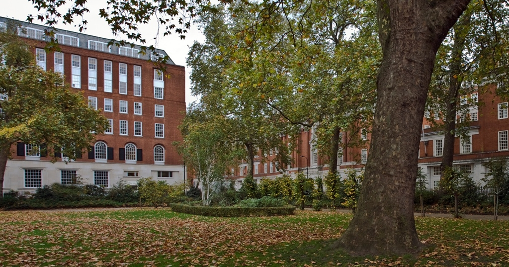 Building exterior on leafy Tavistock square